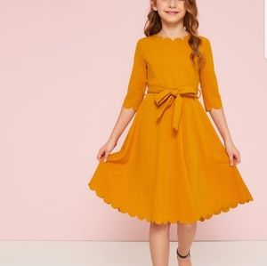 Casual Scalloped Hem Belted Fit & Flare Dress